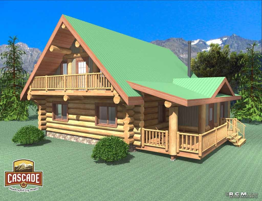 Cascade Handcrafted Log Homes 1496 Dawson Exterior View Side