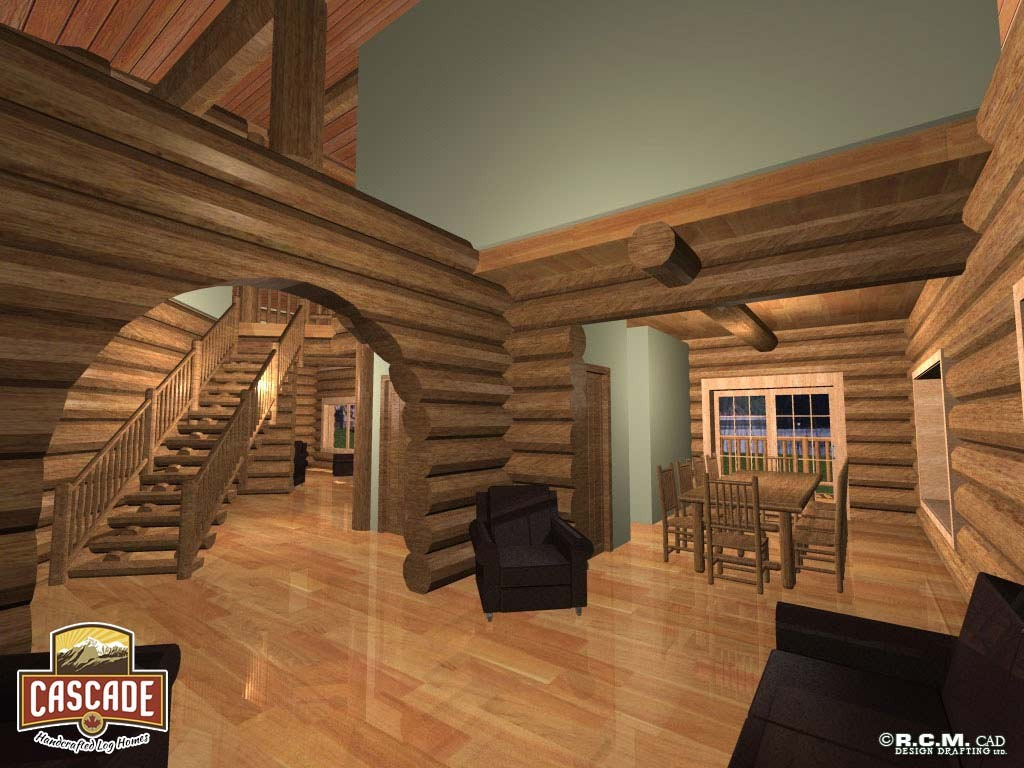 Cascade Handcrafted Log Homes 3367 Edwards Interior Lounge Stairs