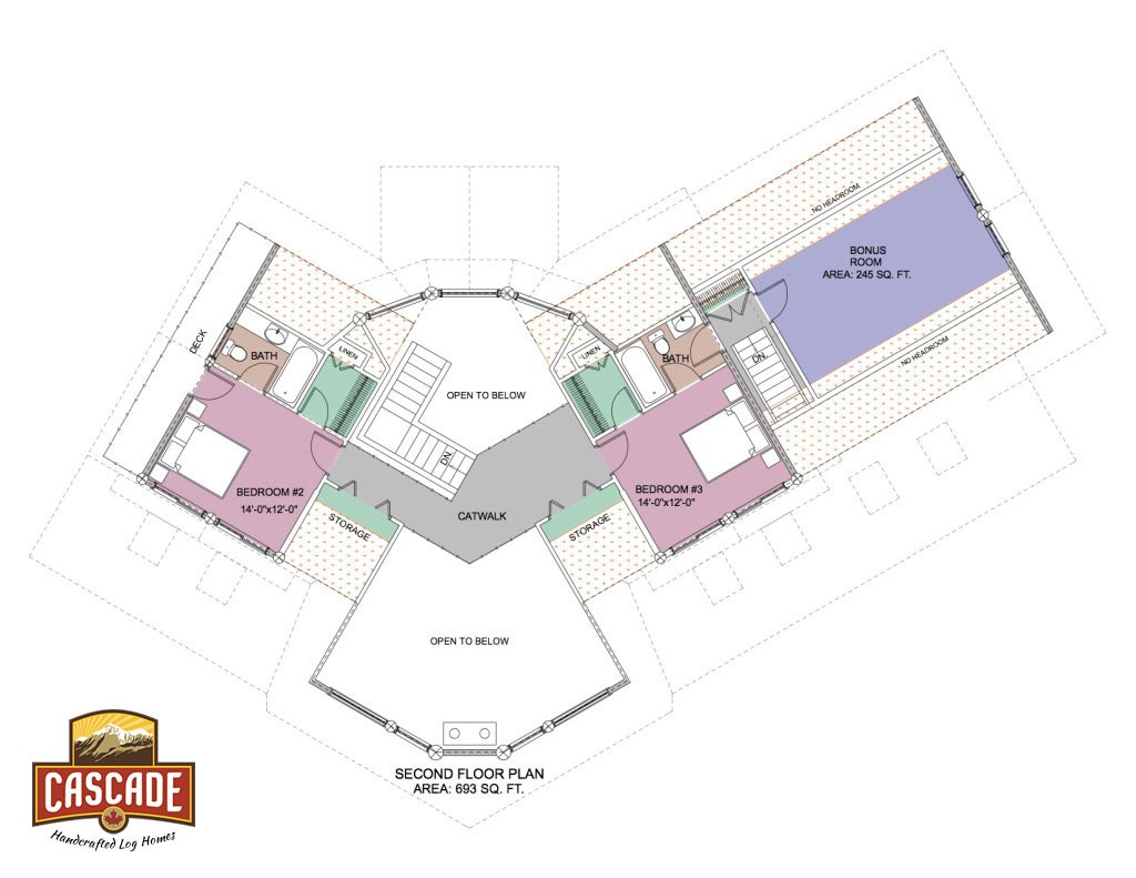 Log home floor plans 2400 3000 sq ft cascade handcrafted for 3000 sq ft commercial building plans