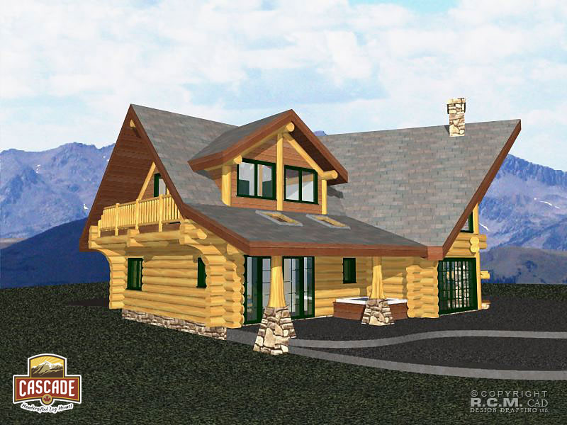 3000 square foot log home plans for Square log home plans