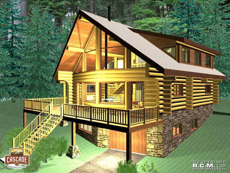 Log home floor plans 1500 2400 sq ft cascade handcrafted for Log home decks