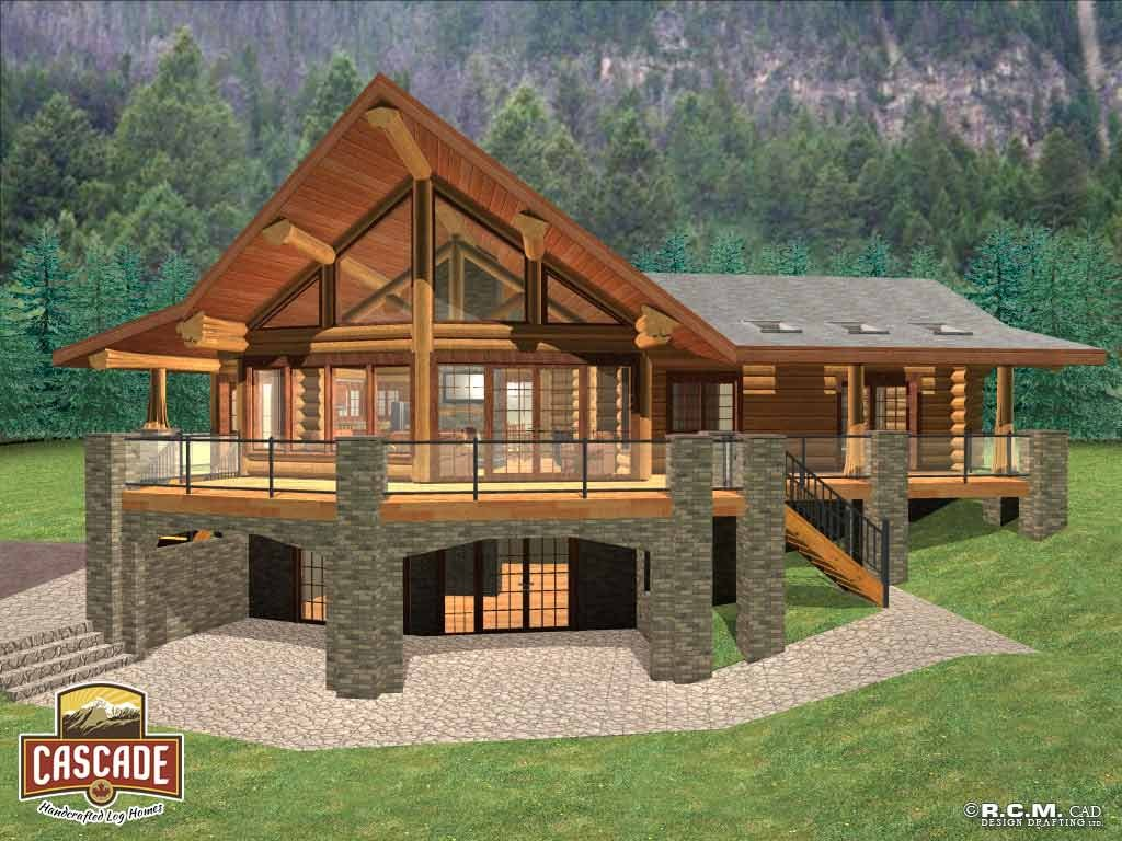 Cascade stairs deck joy studio design gallery best design for Log home decks