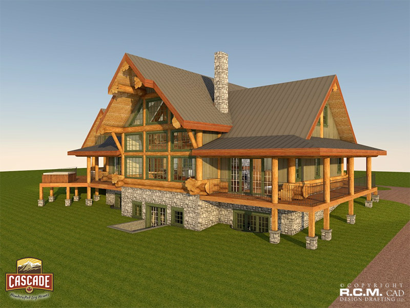 Western red cedar hybrid log home cascade handcrafted for Western home builders