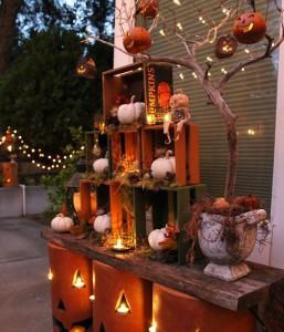 rustic halloween bench