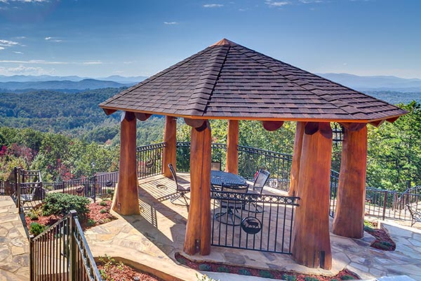 Log gazebos enjoy outdoor living cascade handcrafted for Octagonal log cabin plans