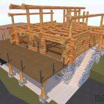 Custom log home renders