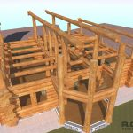 Custom log home renders